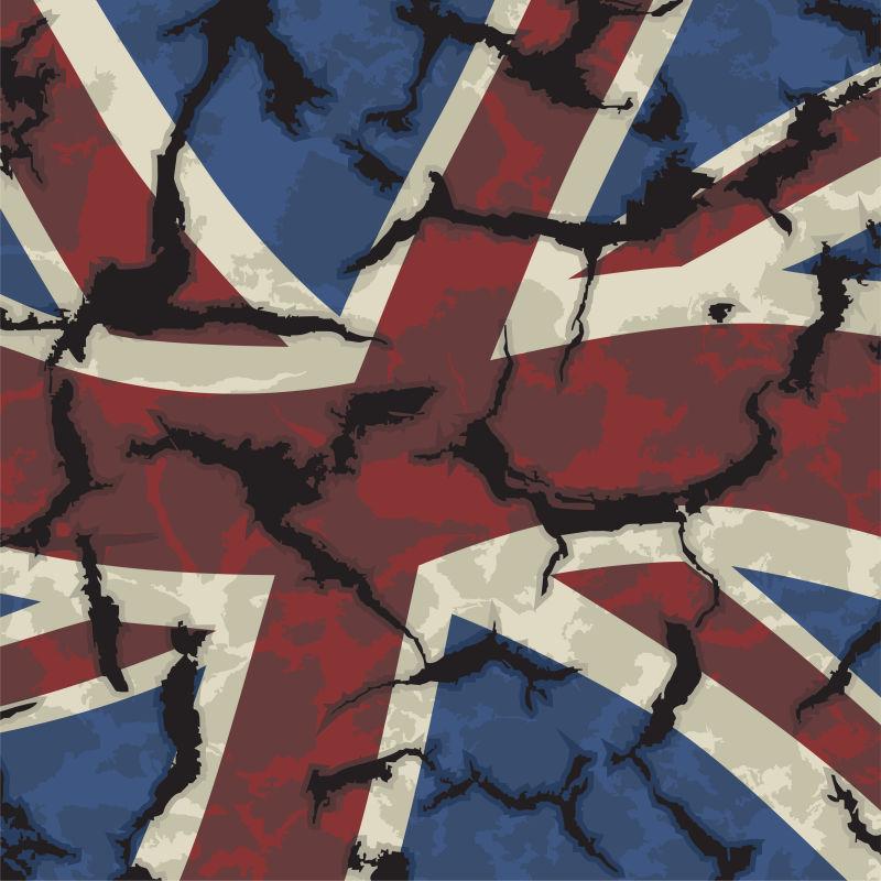 矢量碎裂的英国国旗插图