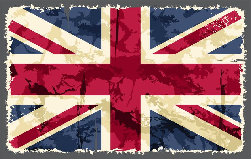 抽象矢量水彩纹理的英国国旗插图