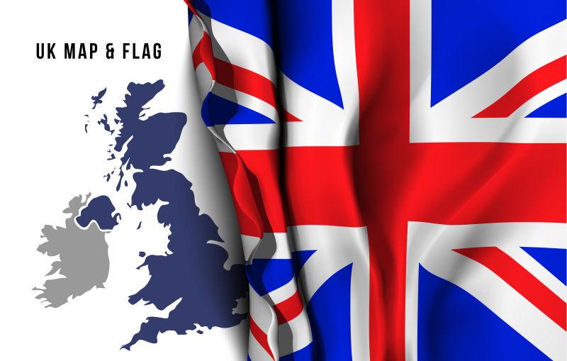 矢量英国国旗和地图