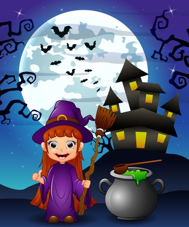 万圣节夜晚的巫女矢量插图