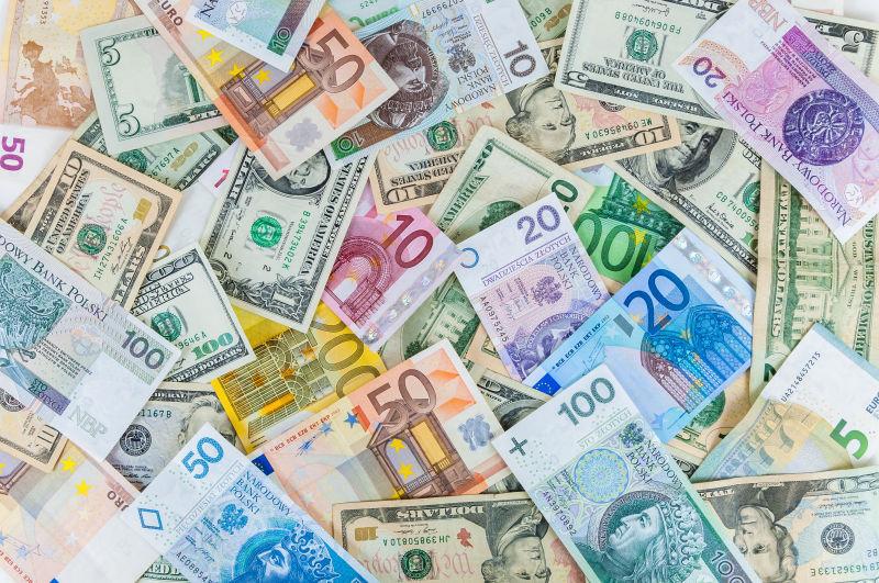 各国各色的纸币背景
