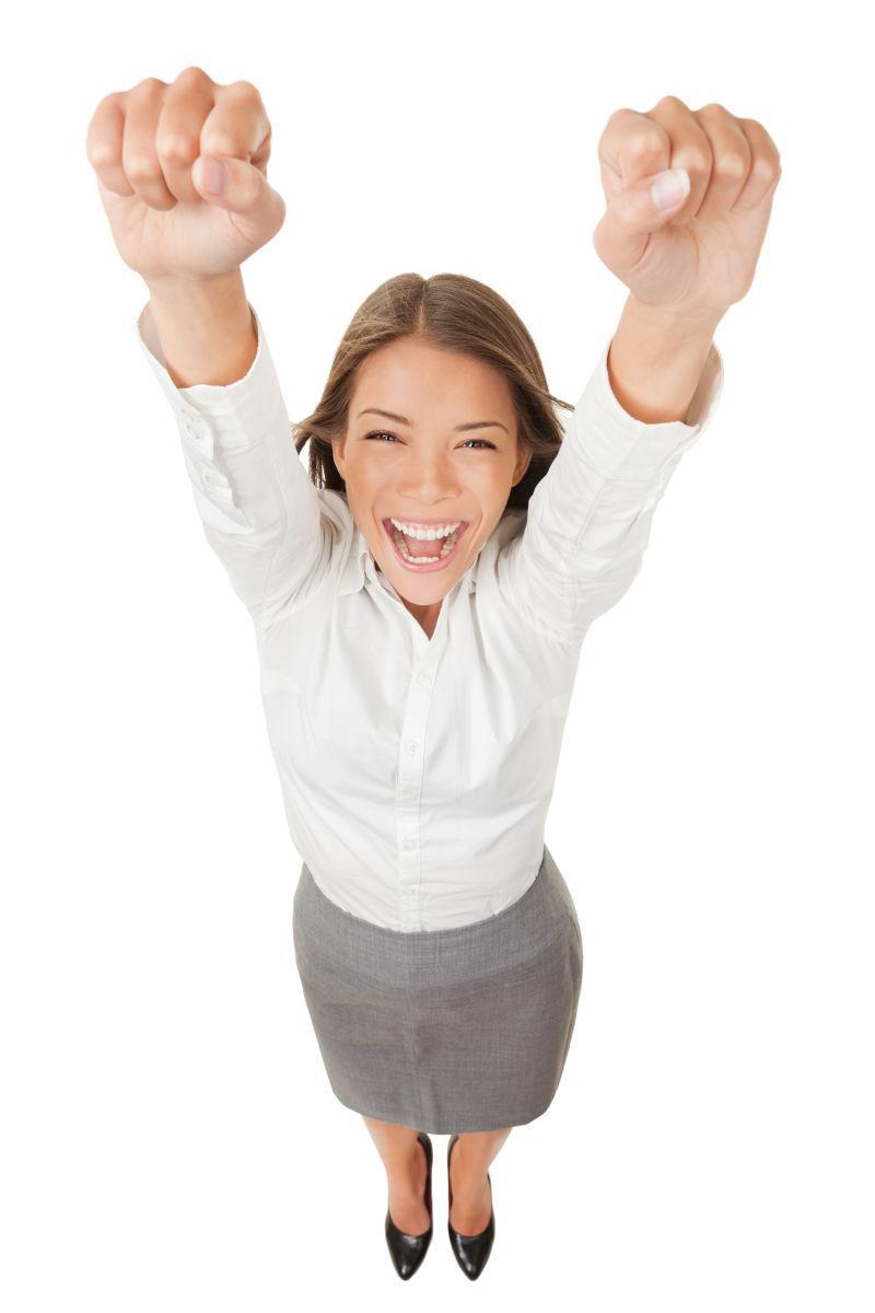 狂喜的女人欢呼和胜利