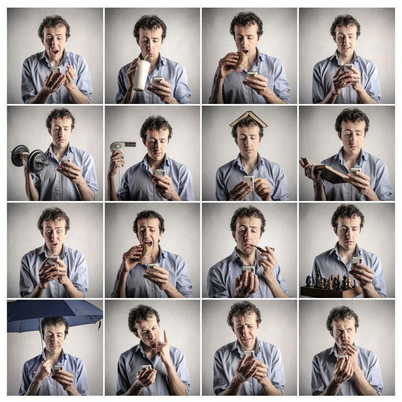 灰白色背景上一个做不同事情的男人的表情拼贴