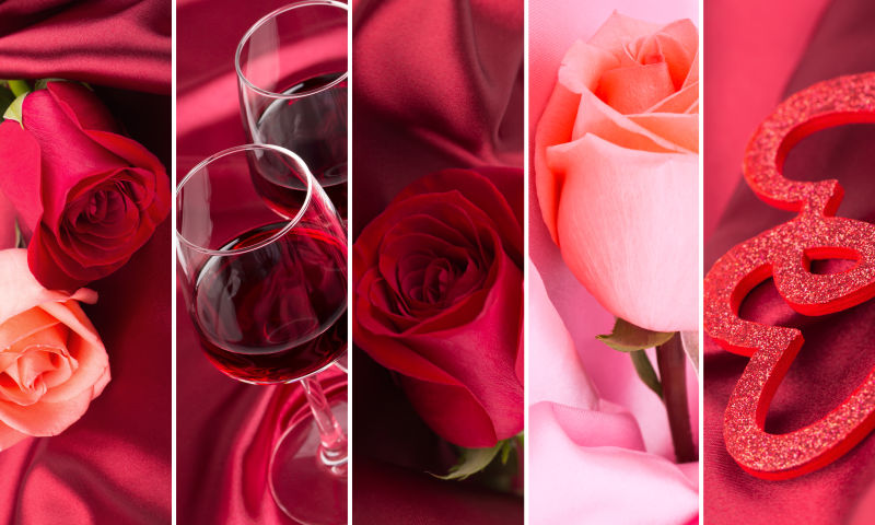 情人节玫瑰和红酒杯拼贴