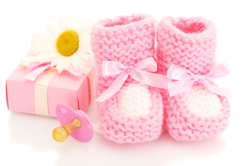 可爱的粉色婴儿鞋