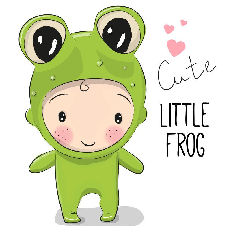 矢量穿青蛙服装的男孩卡通插图
