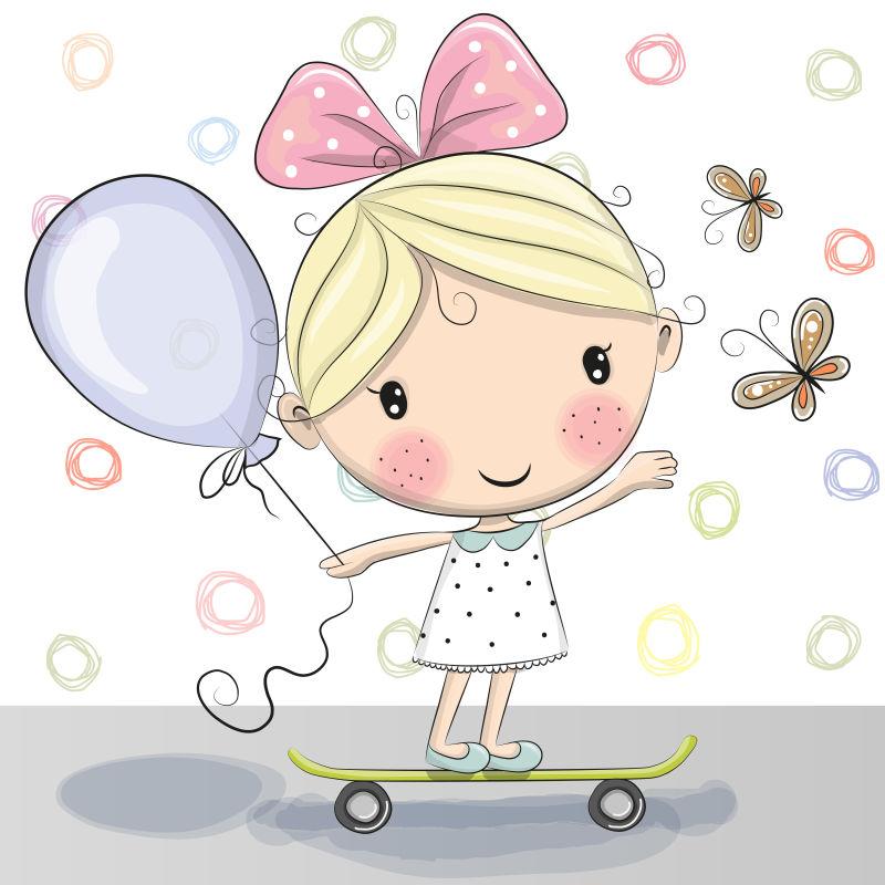 矢量滑滑板的女孩卡通插图