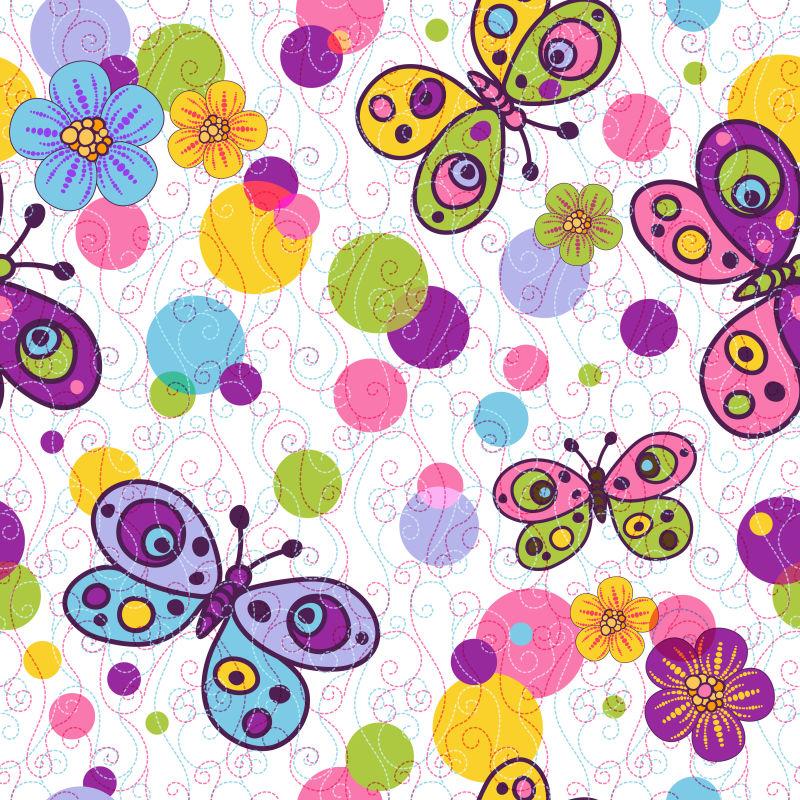 抽象矢量卡通蝴蝶的创意平面背景