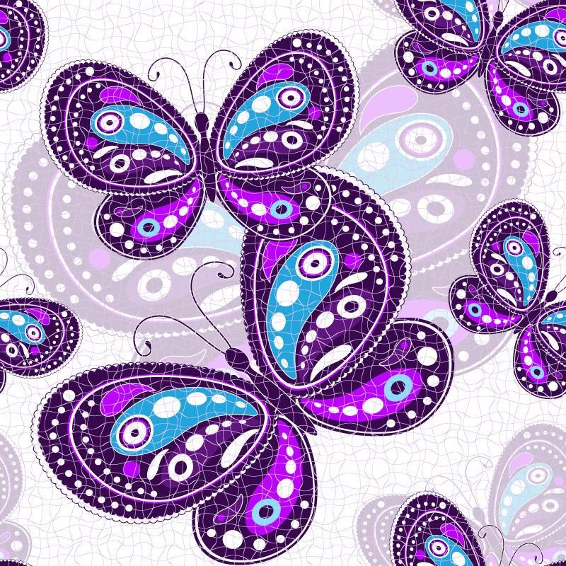 矢量抽象紫色卡通蝴蝶创意无缝插图