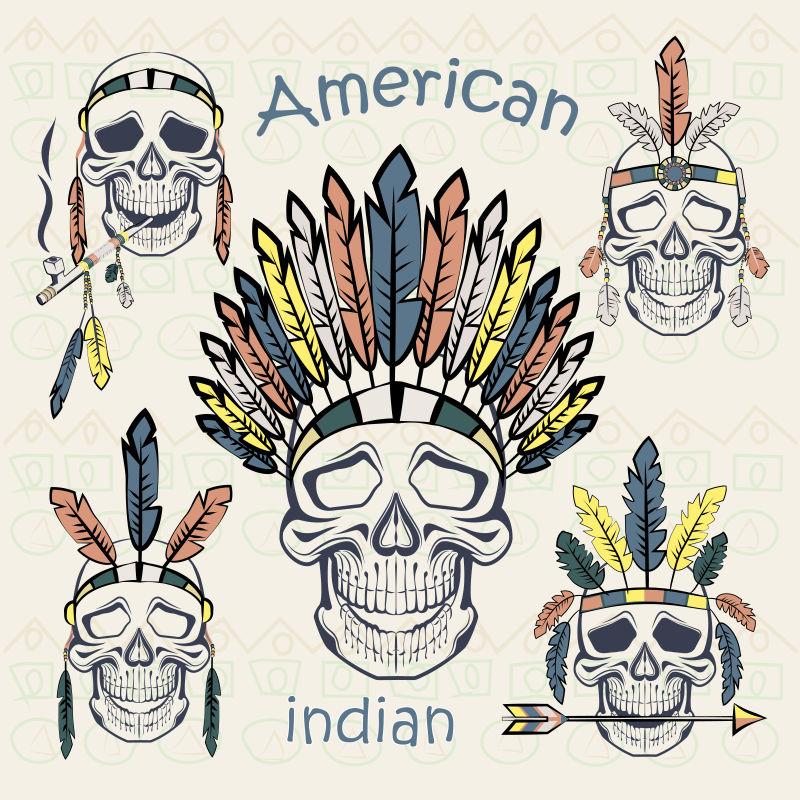 矢量抽象印第安风格的插图