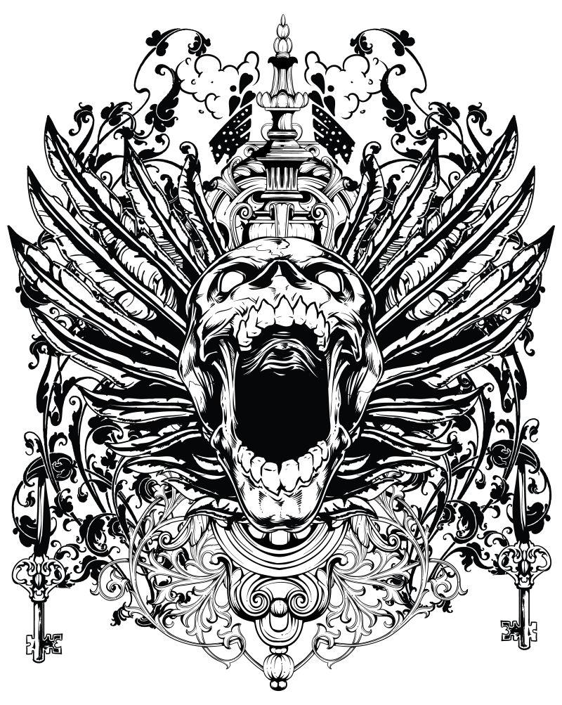 创意骷髅插图矢量设计