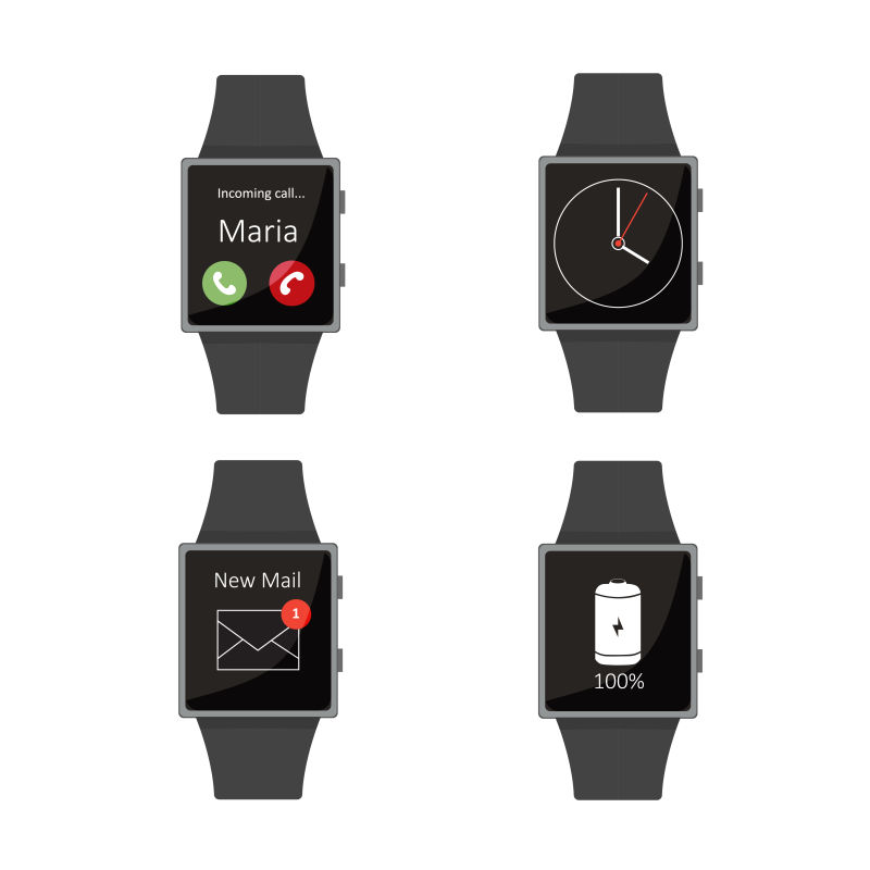矢量智能手表的平面插图