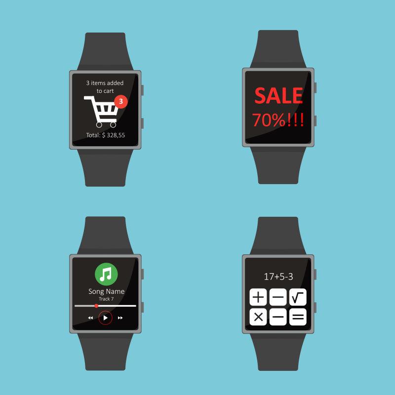 矢量蓝色背景上的智能手表插图