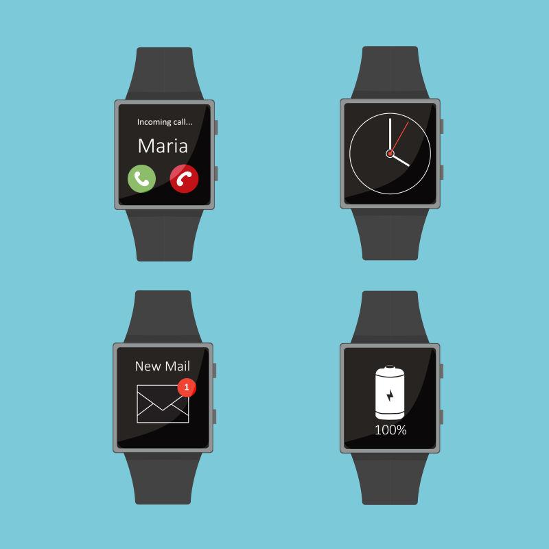 矢量抽象方形表面的智能手表插图