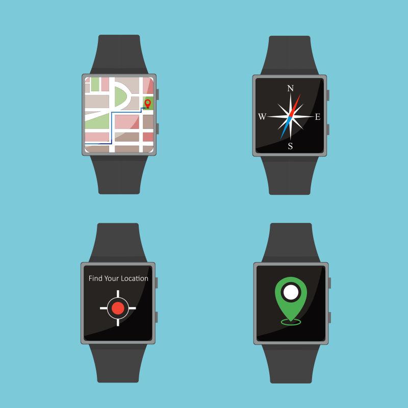 抽象平面风格的智能手表插图
