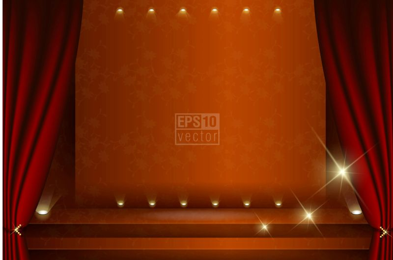 矢量的橙色舞台插图设计