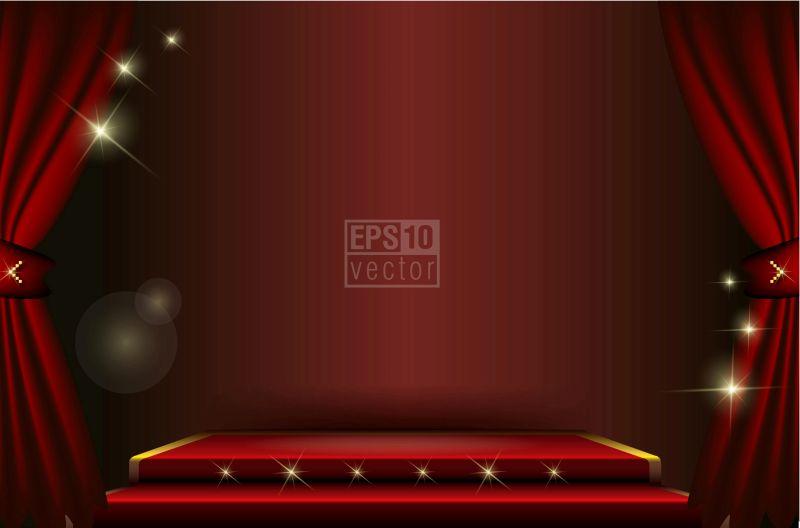 矢量的暗红色舞台插图