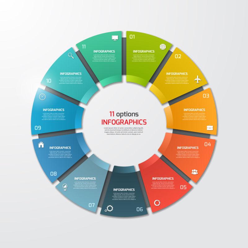 矢量彩色环形信息图表设计