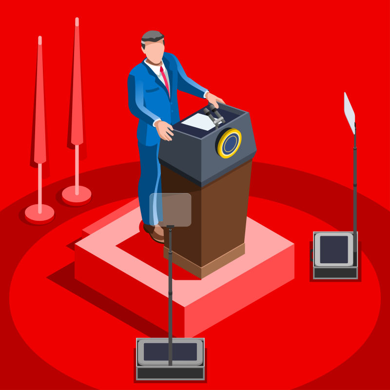 演讲的总统候选人矢量插图