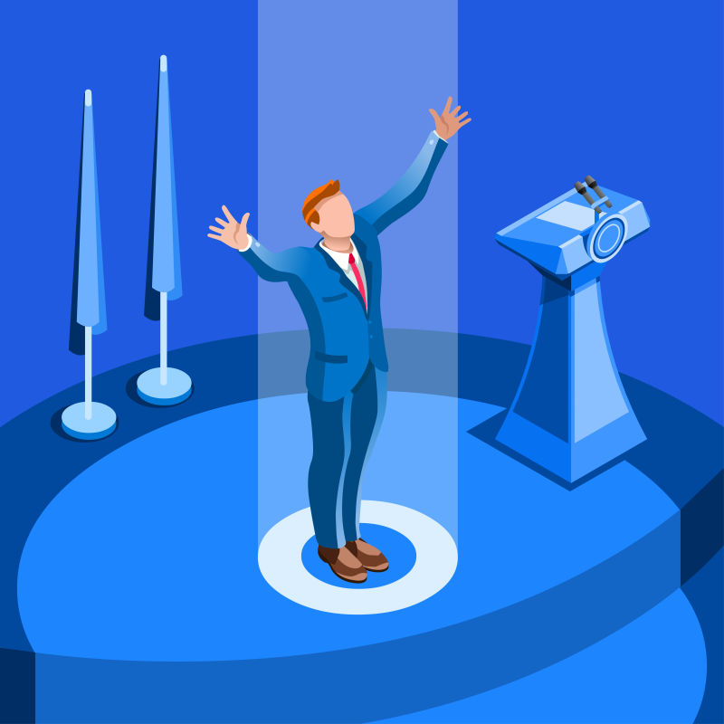 会议厅发表演讲的总统候选人矢量插图
