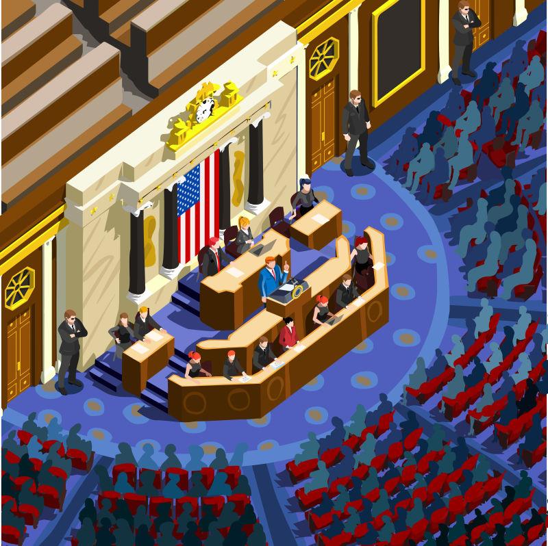 辩论党会议厅矢量插图
