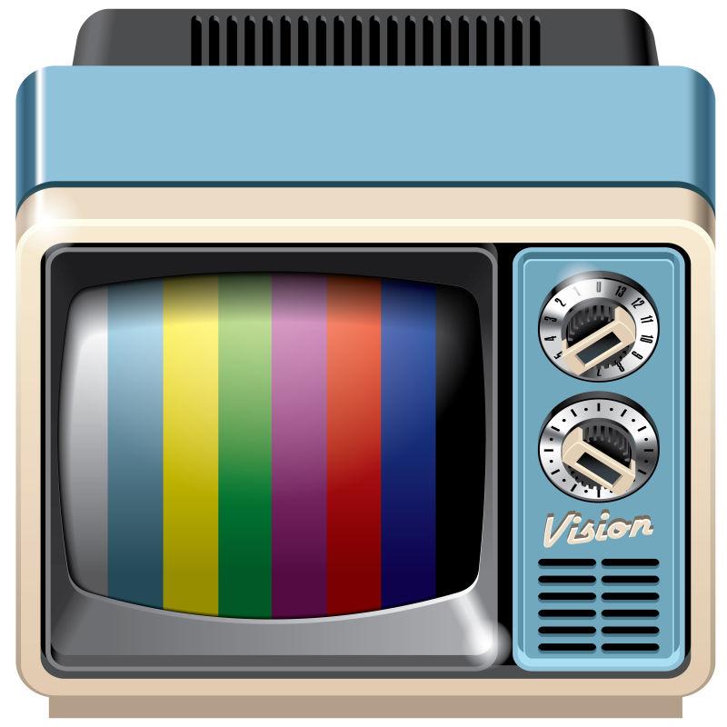 抽象矢量老式蓝色电视机插图