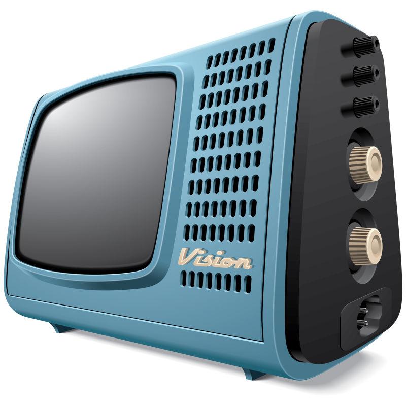 抽象矢量复古蓝色电视机插图