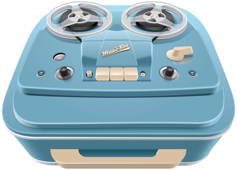矢量抽象复古磁带机插图
