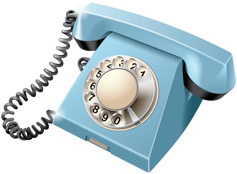 抽象矢量复古蓝色旋转拨号电话设计