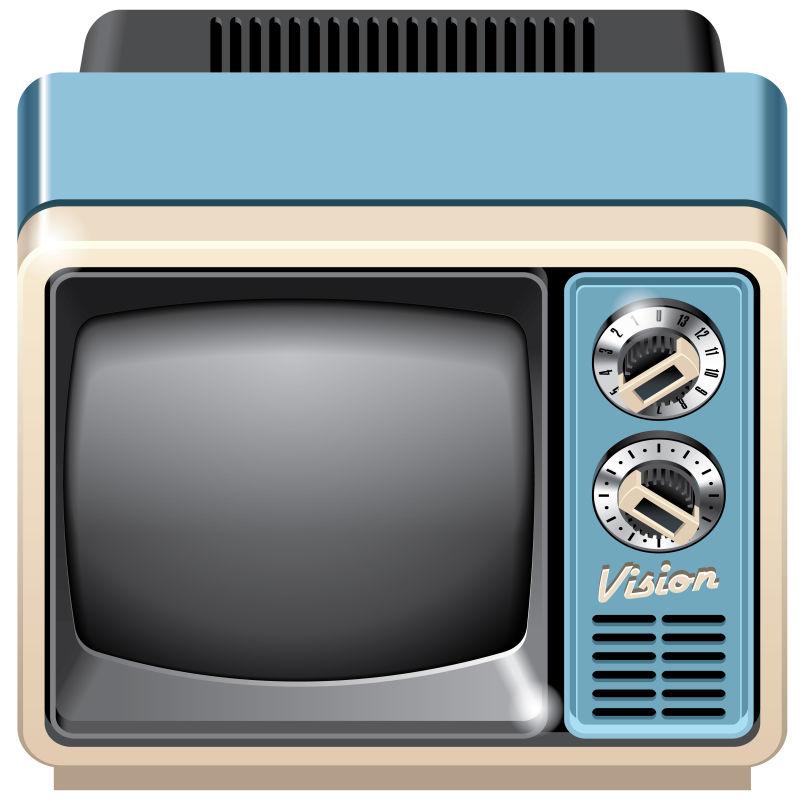 抽象矢量老式电视机插图