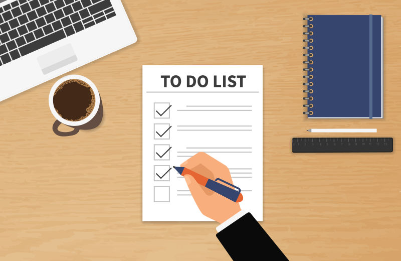 创意勾选待办事项清单的矢量插图