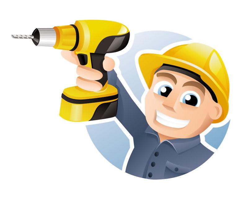 拿着钻孔机的建筑工人矢量插图