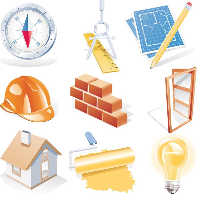矢量建筑工具插图