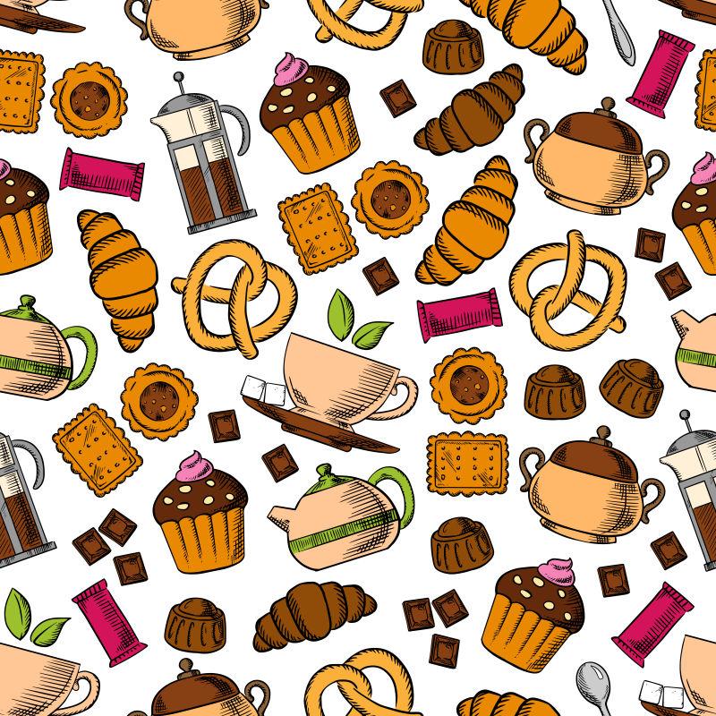 糕点和甜食矢量插图