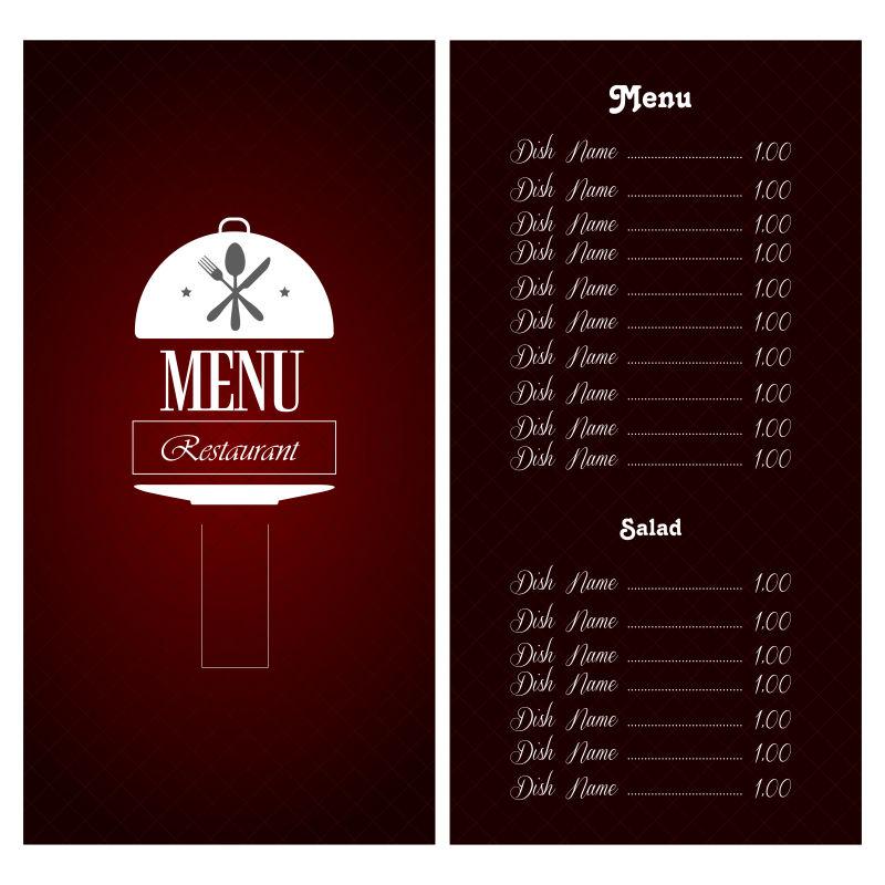 暗红色餐厅菜单矢量设计