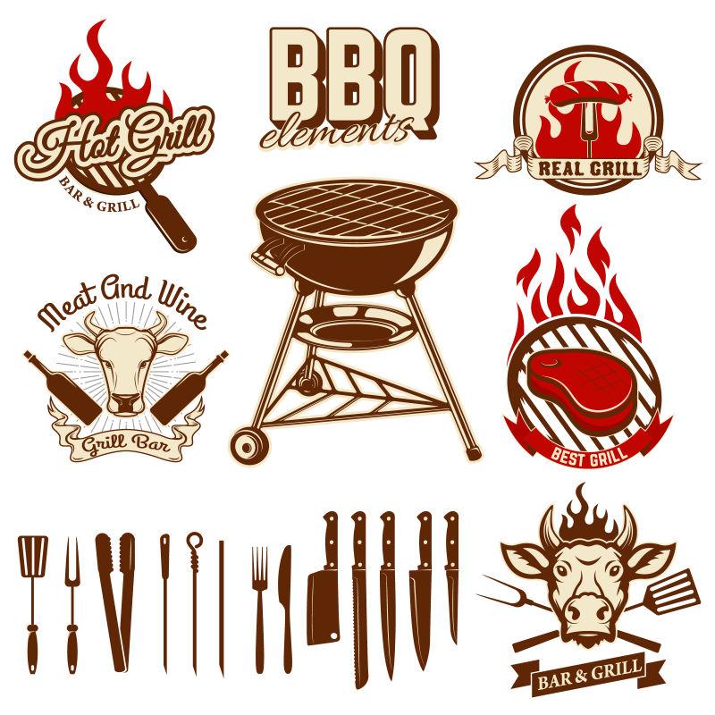 矢量复古烧烤概念的标签设计