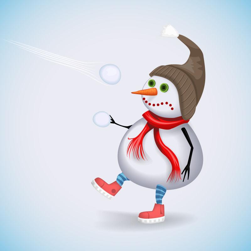 矢量玩雪球的雪人插图