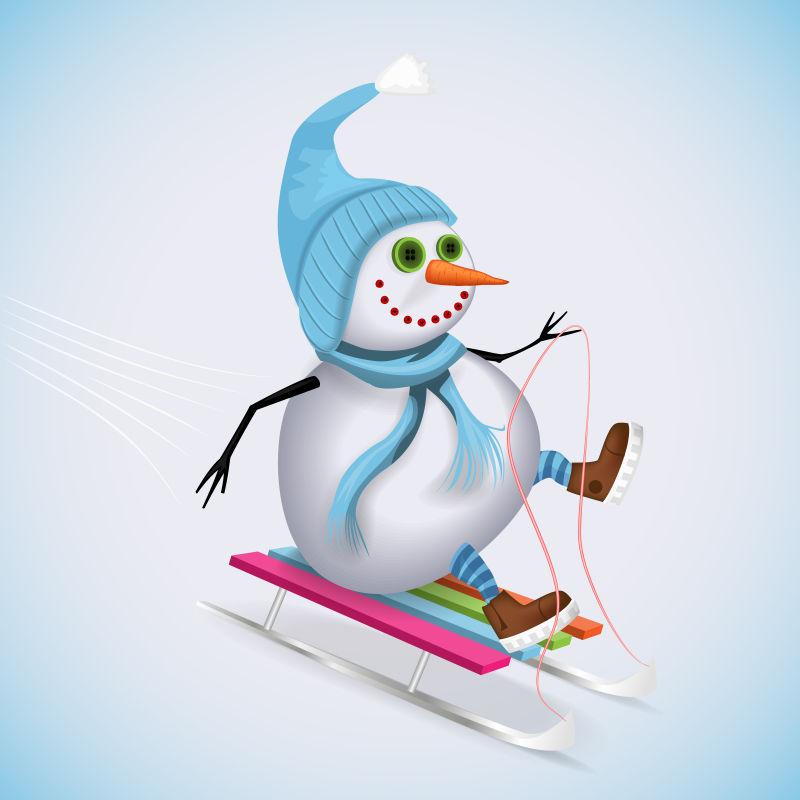 矢量坐雪橇的雪人插图