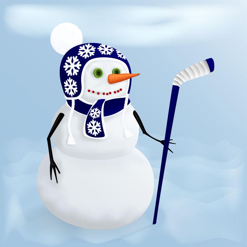 矢量抽象拿冰球棍的雪人 插图