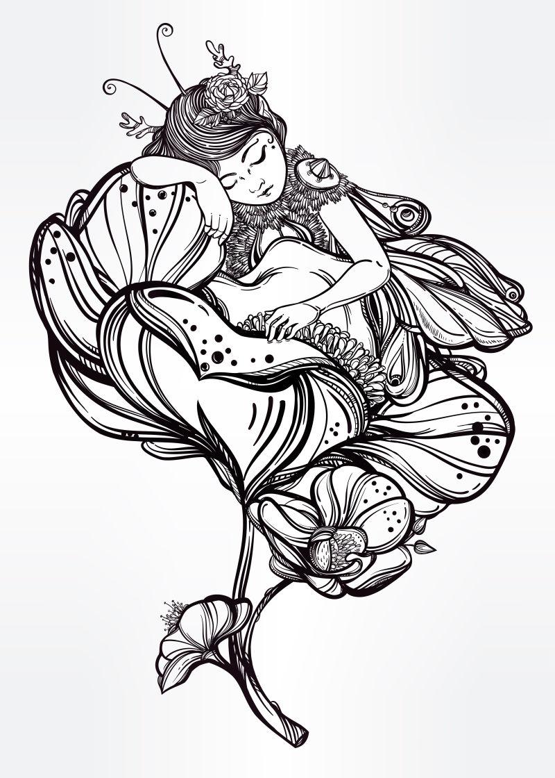 睡在花朵上的花仙子矢量插图