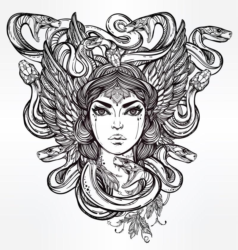希腊神话中的美杜莎矢量插图