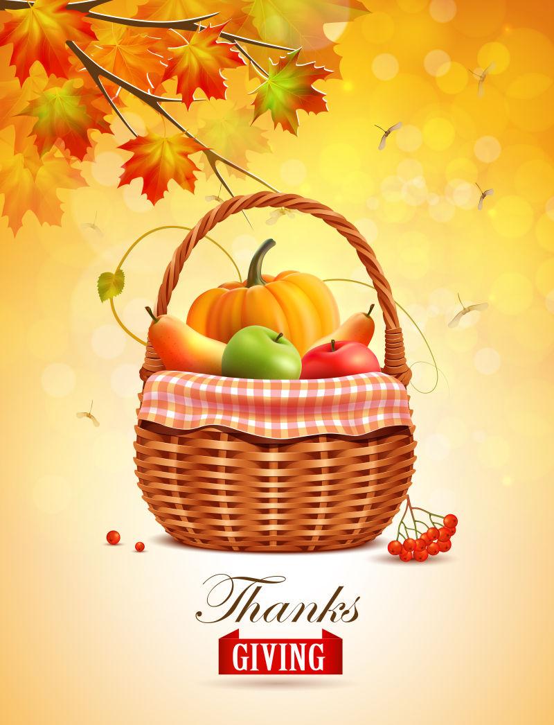 矢量创意丰收果蔬元素的感恩节海报设计