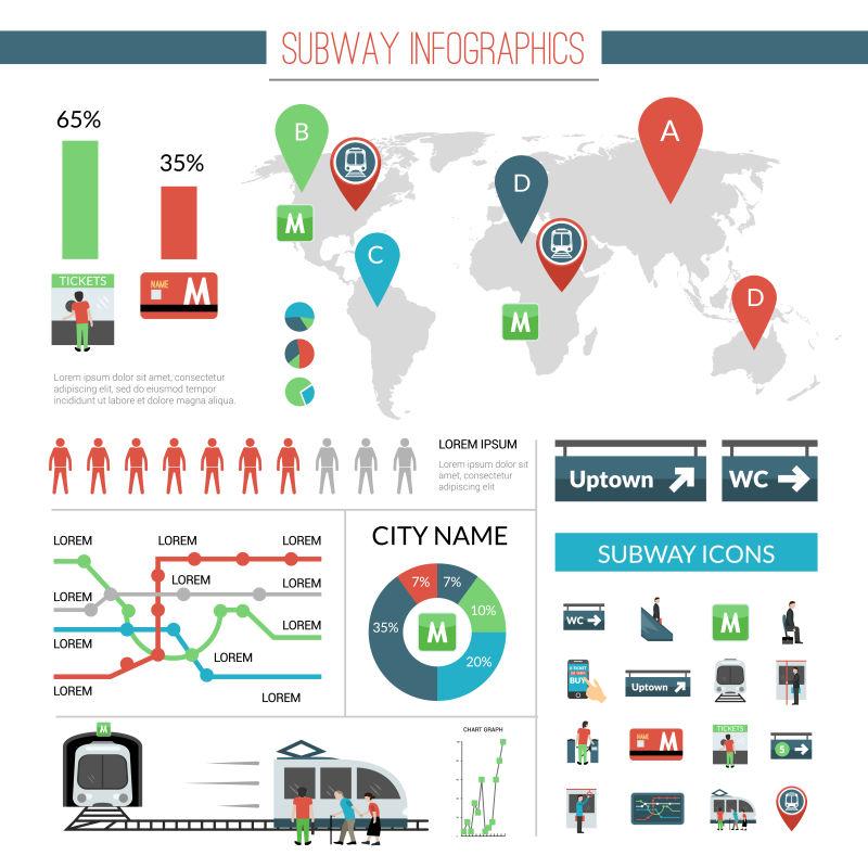 矢量的地铁信息图表设计