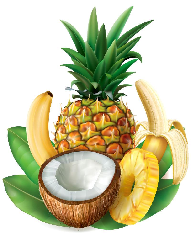 抽象矢量新鲜水果的插图