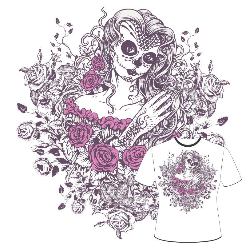 个性玫瑰花女孩T恤印花矢量图