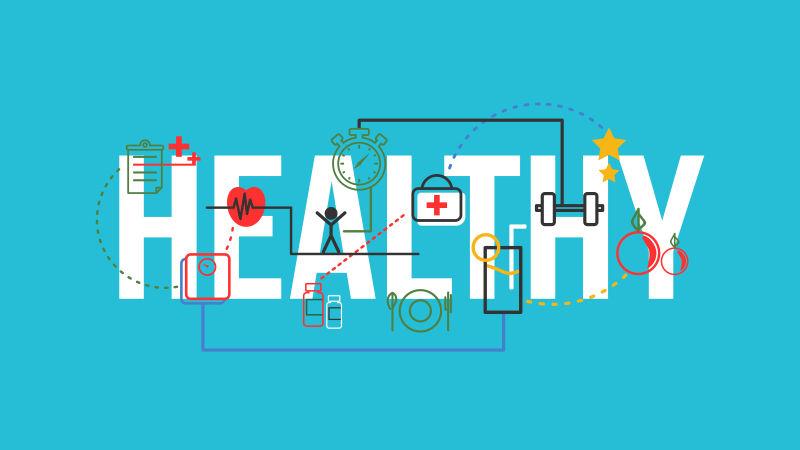矢量健康标志的字母排版