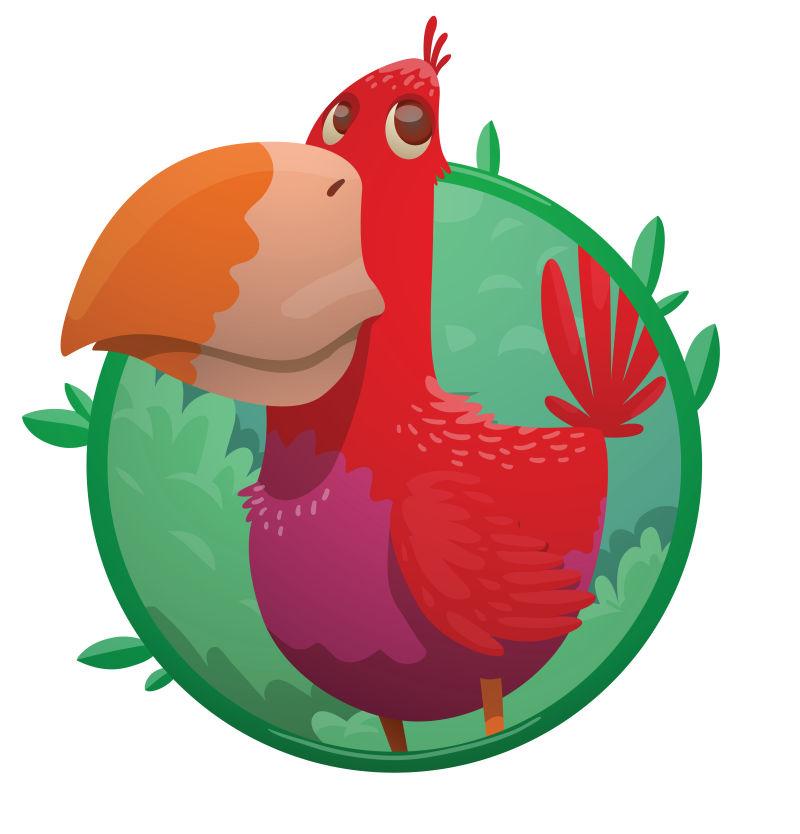 矢量红色的巨嘴鸟类卡通插图