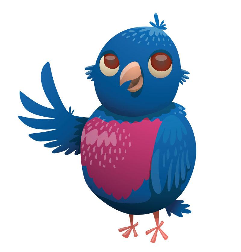 矢量卡通蓝色的鸟类插图
