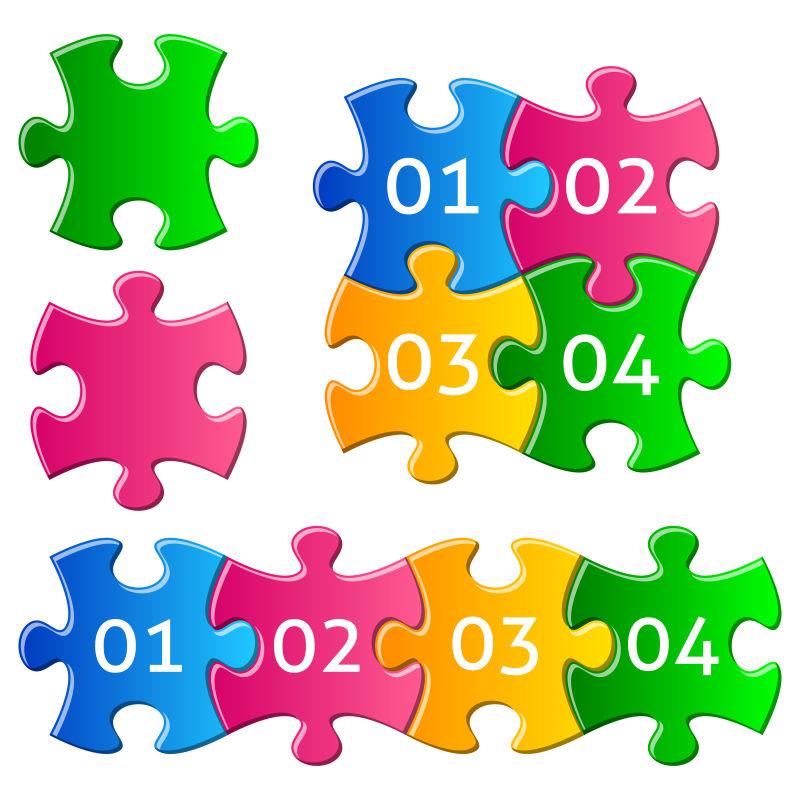 矢量彩色拼图拼凑