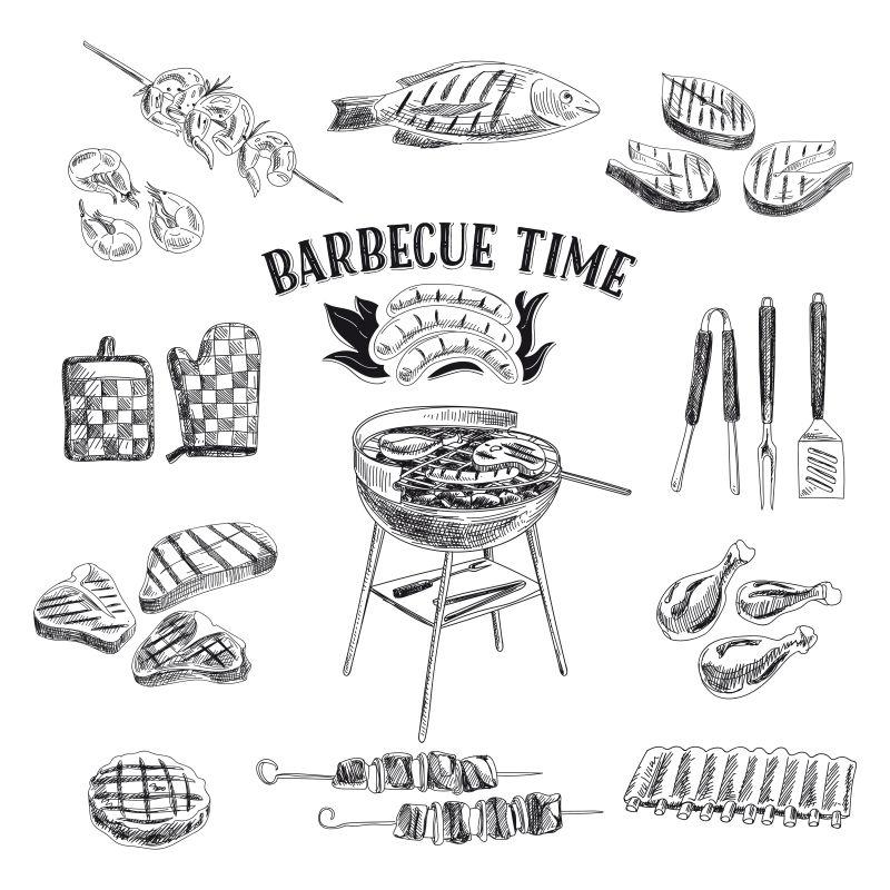 烧烤食物插图矢量设计